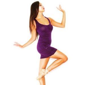 KD DANCE Knit Sweat Dress BodyCon, Purple, Medium